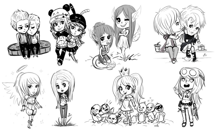Chibi Sketch Dump by Oh-My-Stars