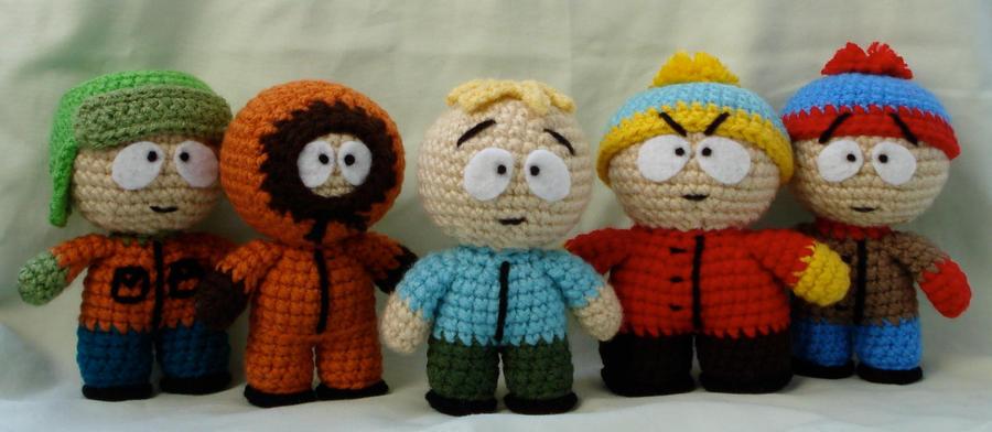 Amigurumi Cartman : south park group shot 2 by TheArtisansNook on DeviantArt