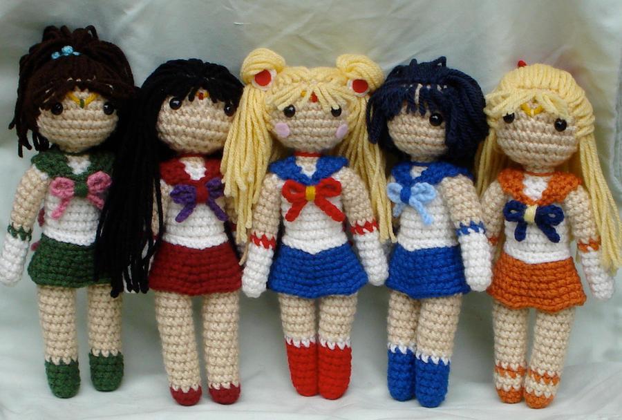 Amigurumi Chibi Doll : Chibi sailor scouts group shot by theartisansnook on deviantart
