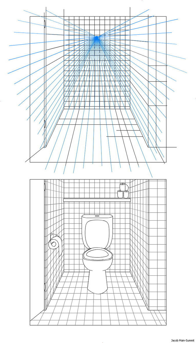 Drawing bathroom from 1 point perspective by jacobmainland for Bathroom design template