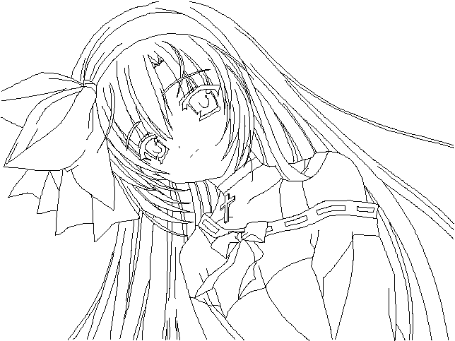 Drawing With No Lines : Random anime girl lineart by nanachan on deviantart