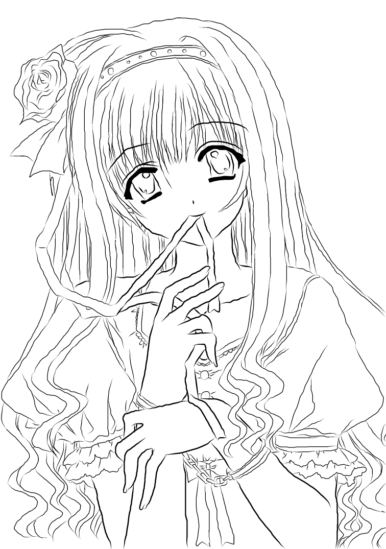 Anime girl lineart new by nanachan1999 on deviantart for Anime girl coloring pages