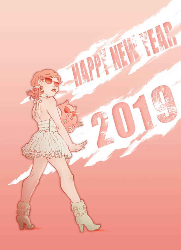 Greetings New Year 2019 by minightrose12