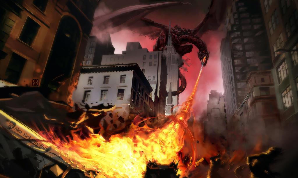 Dragon over NYC by shurita