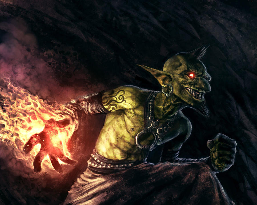 Goblin fire warlock by shurita