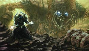 Necromancer raising the undead giant