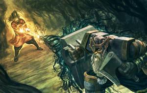 Night Cauldron Cult wizard vs Tank Dwarf by shurita