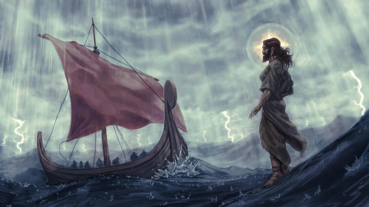 Jesus walks on water by shurita