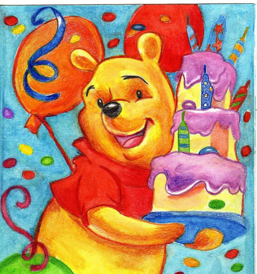 Рисованая открытка к дню рождению ребенка, дню рождения