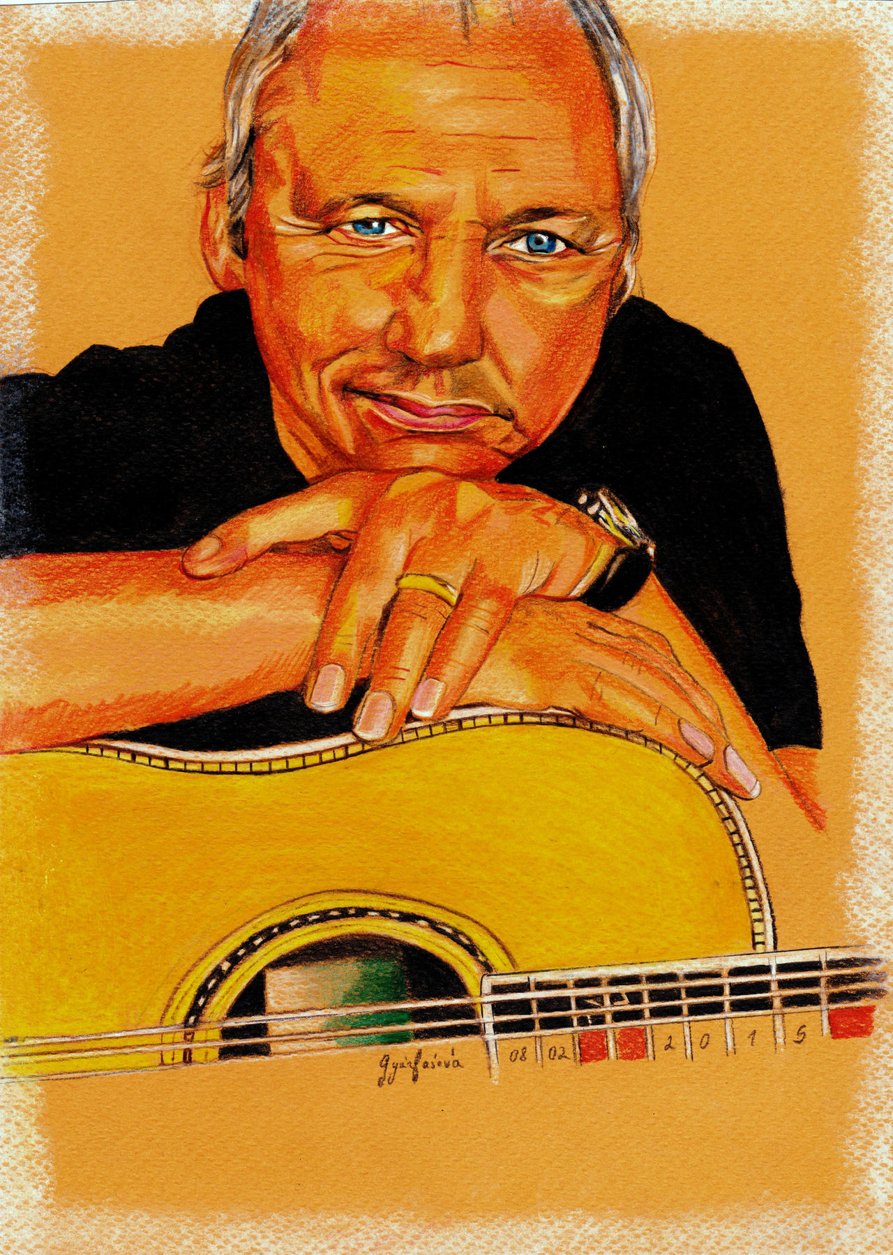 Mark Knopfler Portrait Coloured by ZuzanaGyarfasova
