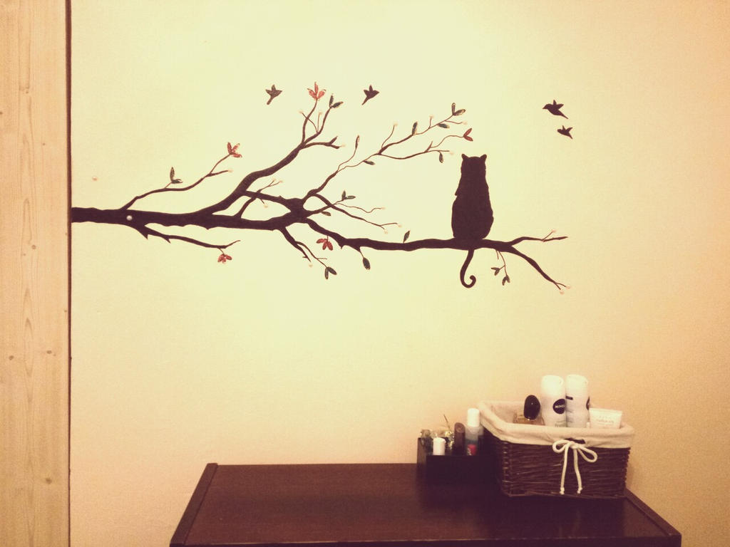 Cat Wall Painting by ZuzanaGyarfasova on DeviantArt