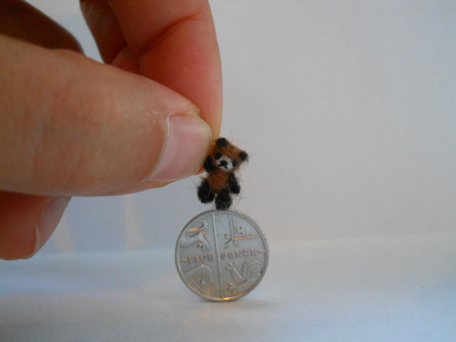 One of a kind micro miniature teddy bear by tweebears