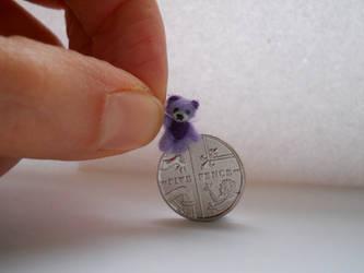 Ooak miniature micro jointed lavender teddy bear by tweebears