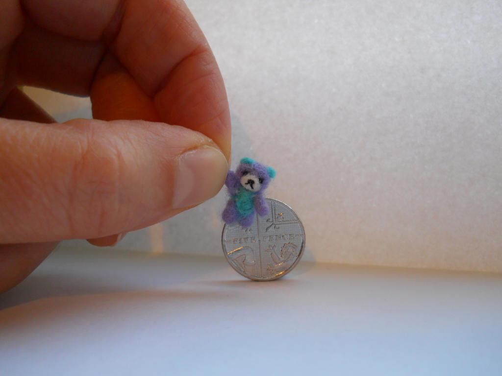 OOAK miniature micro teddy bear Aqua and Purple by tweebears