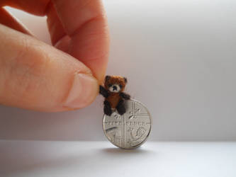 Ooak micro miniature jointed teddy bear - two tone by tweebears