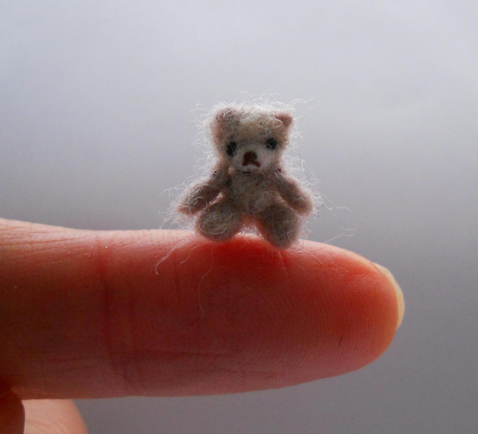 Ooak miniature micro jointed teddy bear 'Mushroom' by tweebears