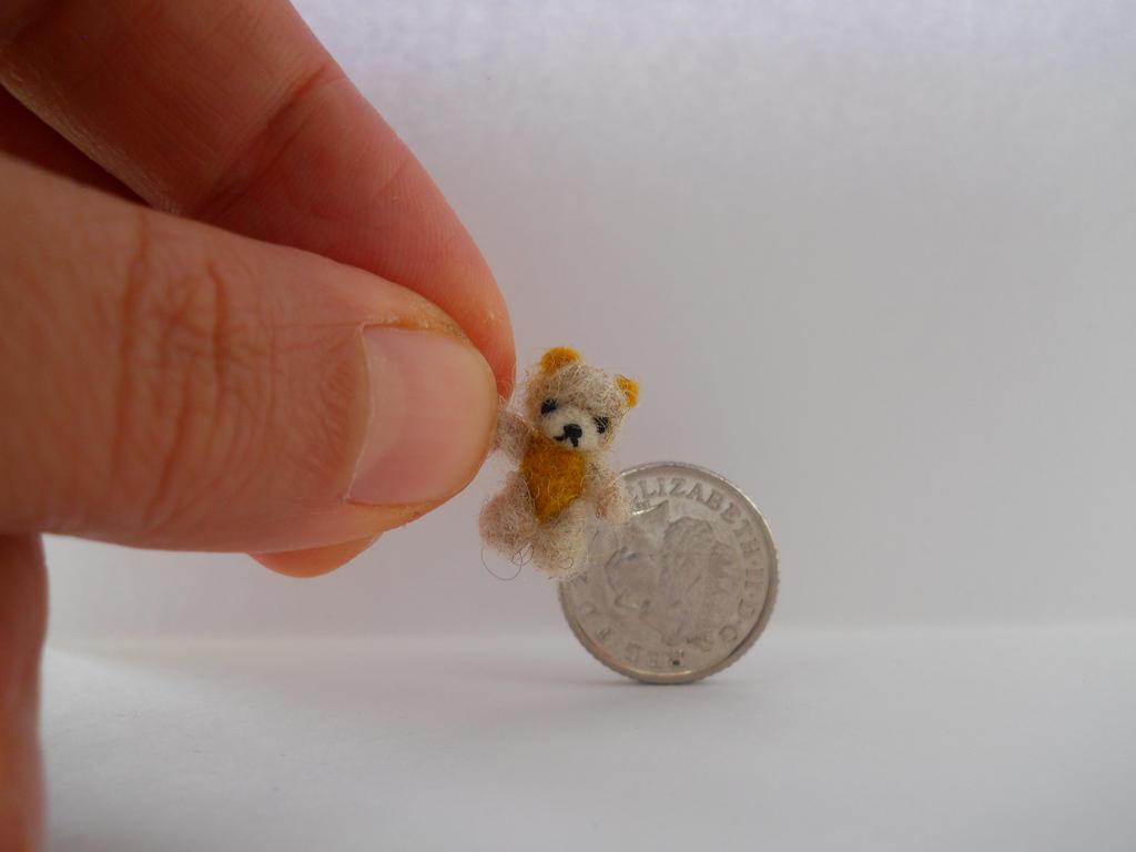 OOAK micro miniature jointed fluffy mustard bear by tweebears