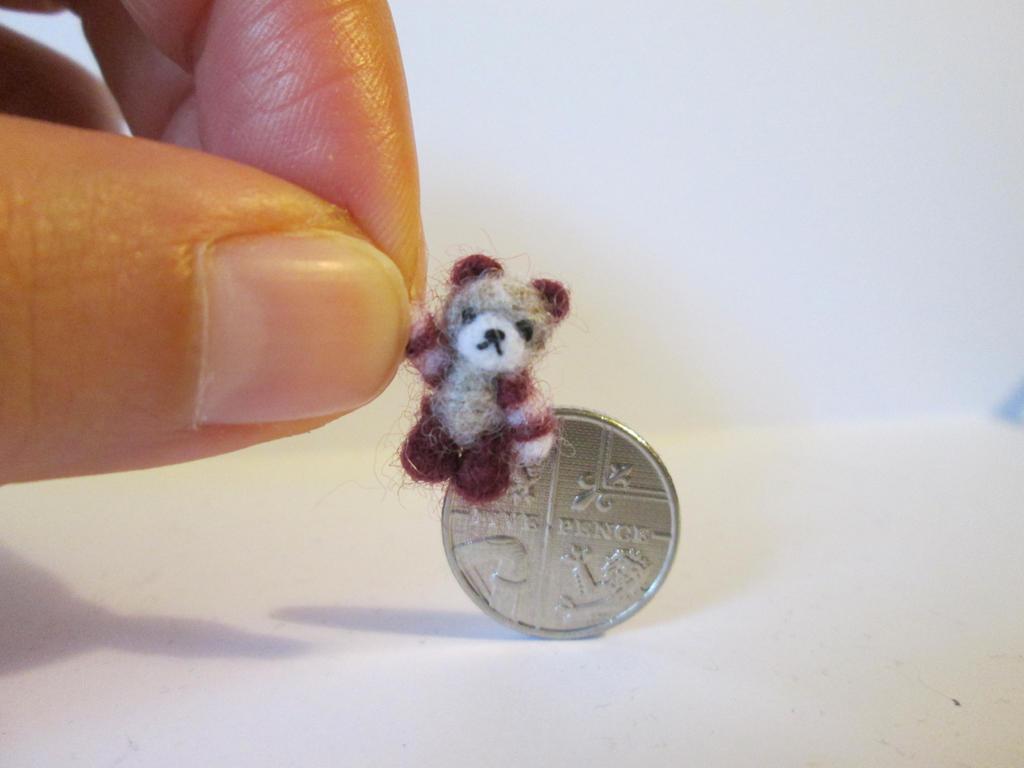 OOAK miniature jointed teddy bear stripy arms by tweebears