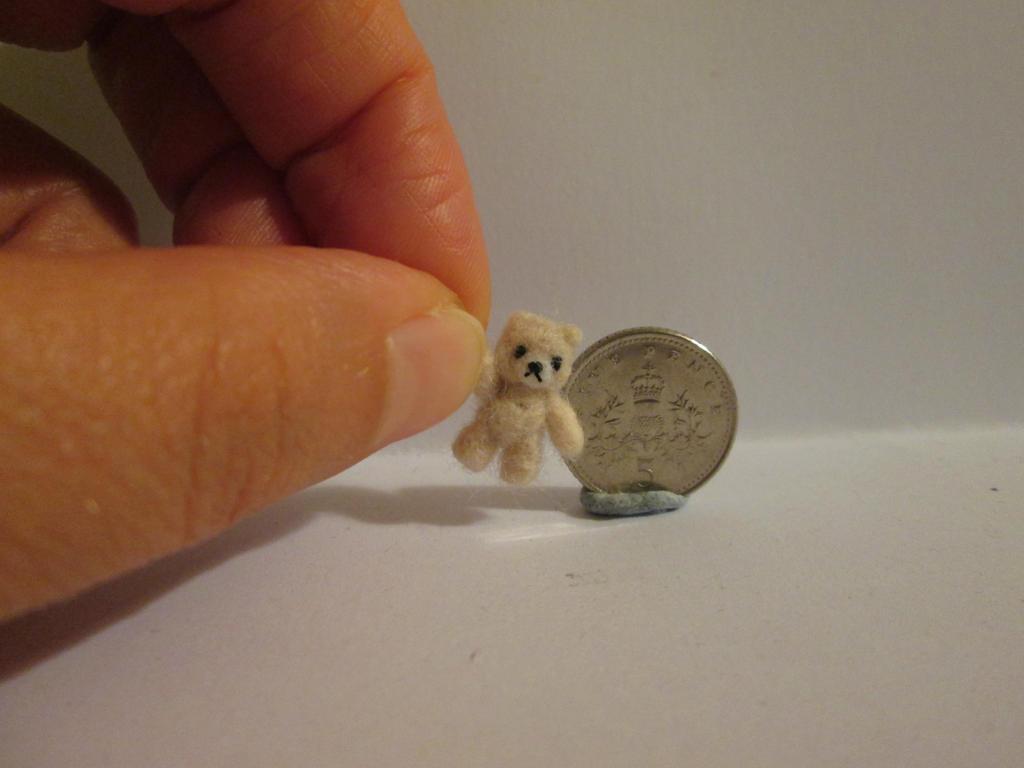 Ooak miniature jointed cream micro teddy bear by tweebears