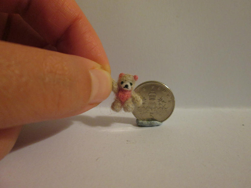 Ooak miniature jointed grey pink teddy bear by tweebears