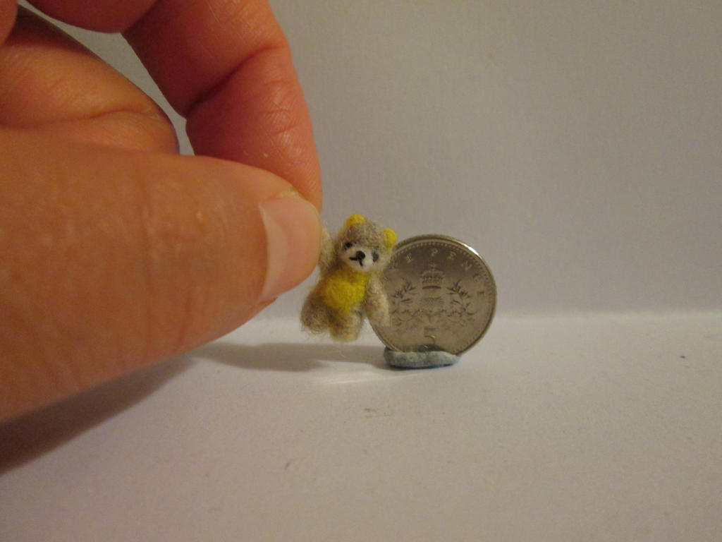 Ooak miniature jointed yellow grey teddy bear by tweebears