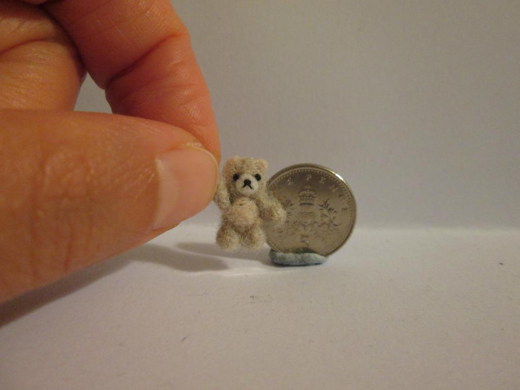 Ooak miniature jointed cream grey teddy bear by tweebears