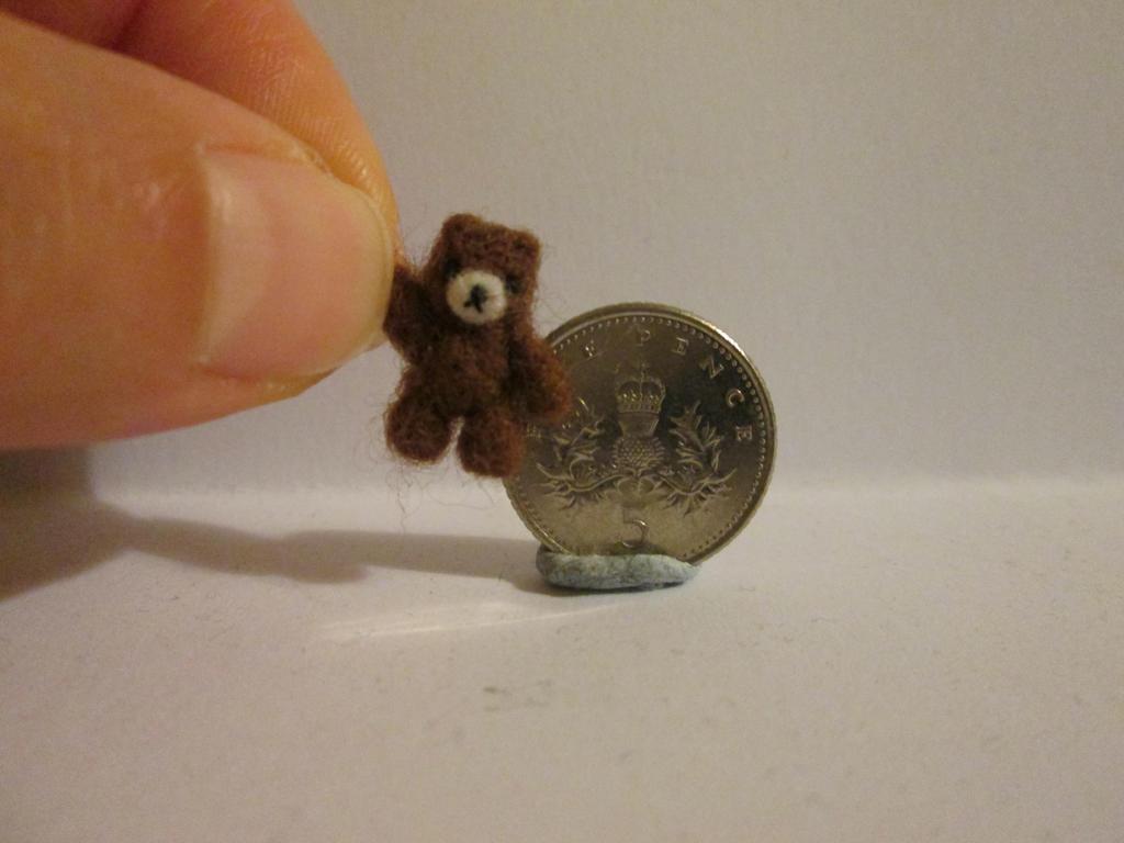 Ooak miniature jointed brown bear micro teddy bear by tweebears