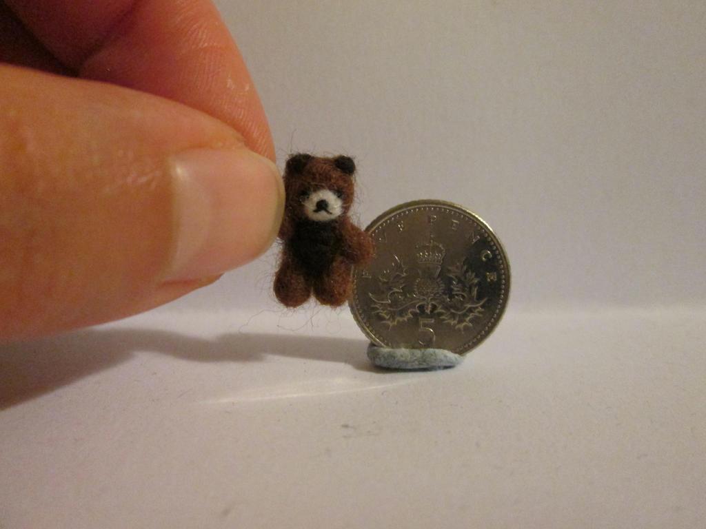 Ooak miniature jointed two tone micro teddy bear by tweebears