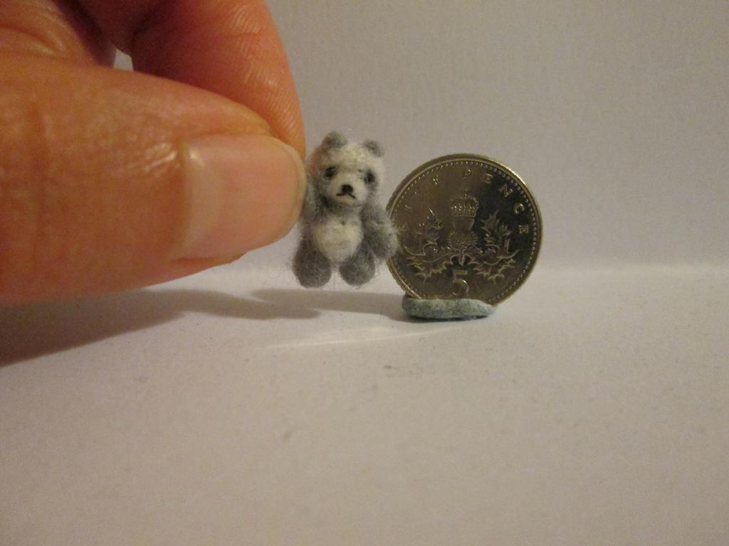Ooak miniature jointed grey panda micro teddy bear by tweebears