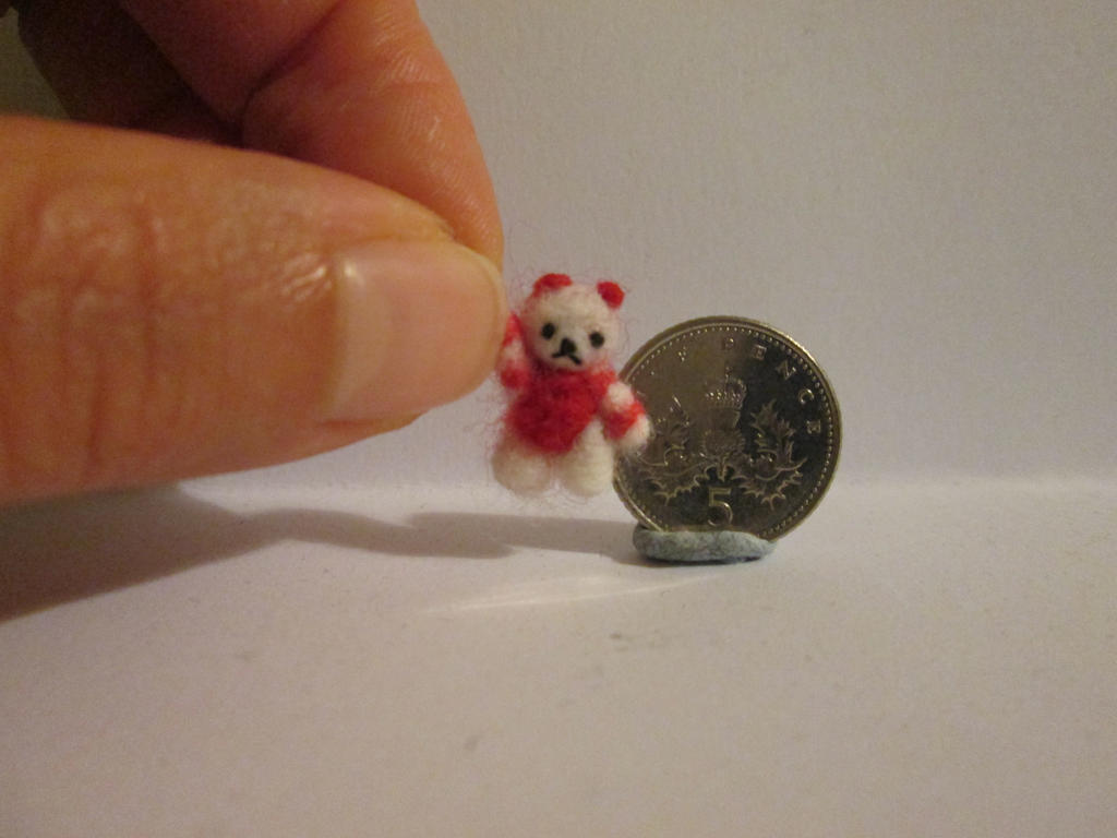 Ooak miniature jointed candy cane micro teddy bear by tweebears