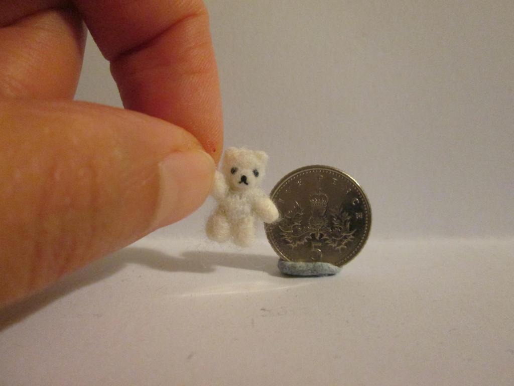 Ooak miniature jointed polar micro teddy bear by tweebears