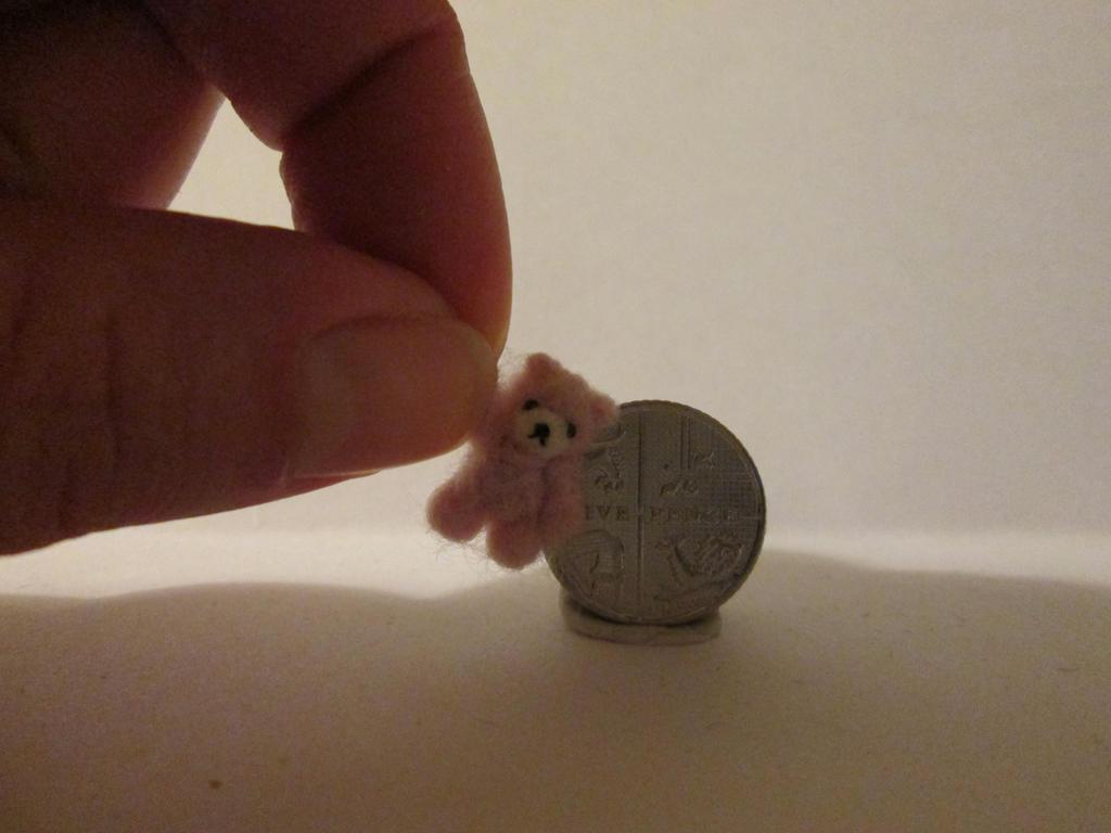 OOAK miniature micro jointed pink teddy bear by tweebears