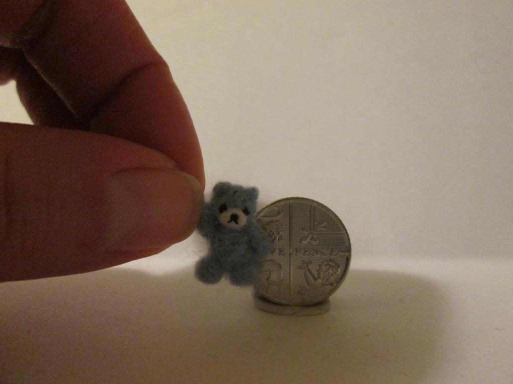 OOAK miniature micro jointed blue teddy bear by tweebears