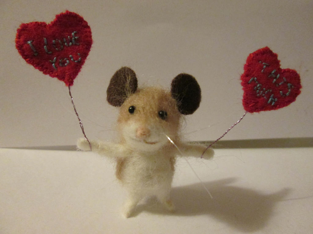OOAK collectable miniature artist mouse Valentines by tweebears