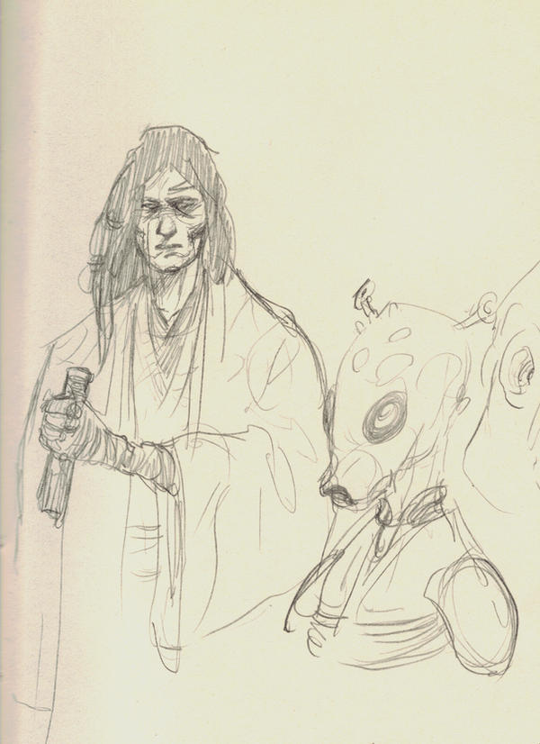 Quinlan Vos and a Rodian by bozac