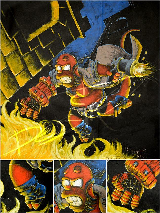 Homer + Hellboy by artmonkeyd