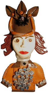 Leaf Hat Lady Pin