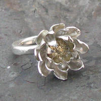 14k Gold and Silver Lotus ring by Sothoth