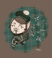 Bonny Bagpiper Elf by AronDraws