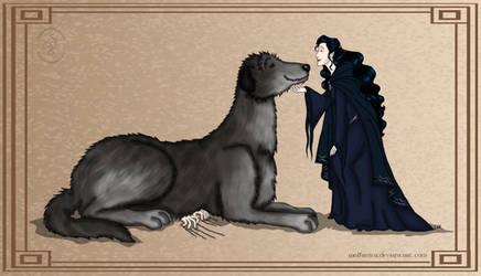 Silmarillion: Luthien and Huan vs. Sauron by wolfanita