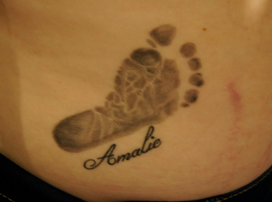 Foot print tattoo by ladyblackcreek on deviantart for How much is a prinker tattoo