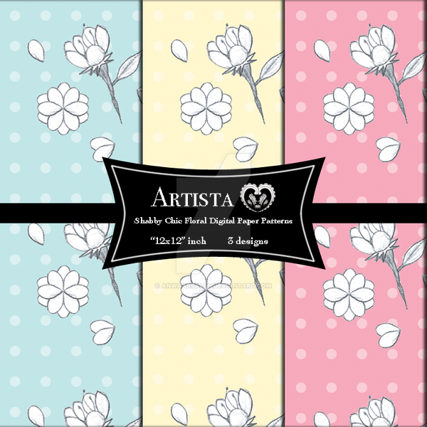 Shabby Chic Floral Digital Paper Patterns by anwaarsaleh