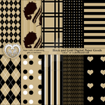 Digital Paper Goods Gold and Silhouette Black