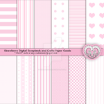 Strawberry Pink Patterned Paper Digital Paper Pack