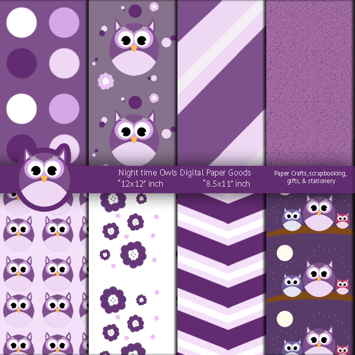 Night time Purple Owls Digital Paper Goods by anwaarsaleh