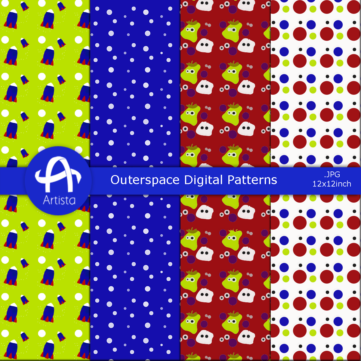 Outerspace aliens digital patterns by anwaarsaleh on for Outerspace design group