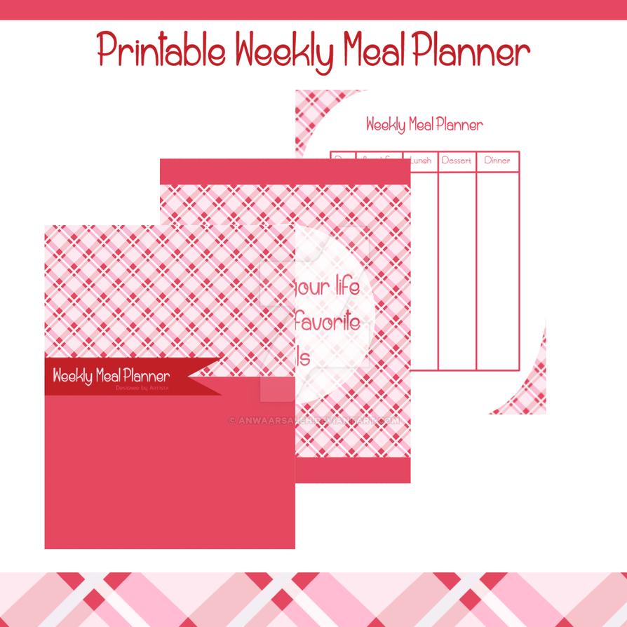 PrintablePrintable Weekly Meal Planner Pink Plaid by anwaarsaleh
