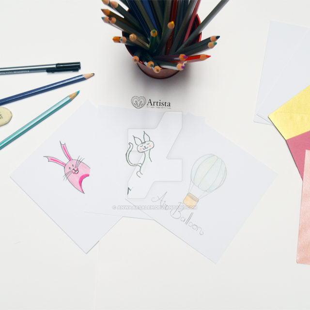 Cute Illustrations for Notecards by anwaarsaleh