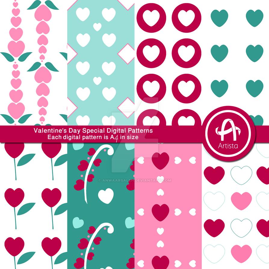 Valentine's Day Digital Pattern Set by anwaarsaleh