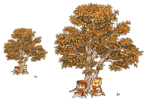 Pixel Tree and Aki Sisters by CMagister